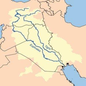 Carte de l'Euphrate et du Tigre-bassin-hydrographique
