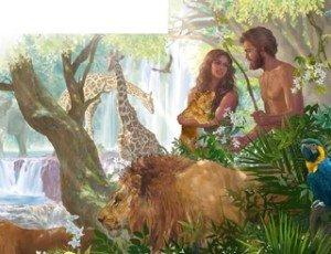Adam et Ève-animaux du territoire d'Eden