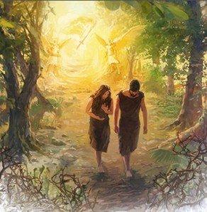 Adam et Ève-chassés de l'Eden vêtu d'une peau de bête