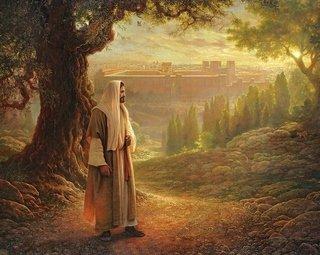 Jesus-seul devant Jérusalem et le Temple