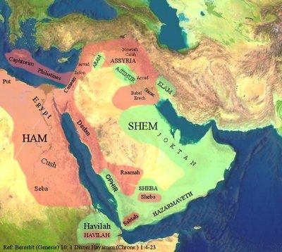 Noah-fils carte, Shem-Ham-Table des peuples reconstitués (Copier)