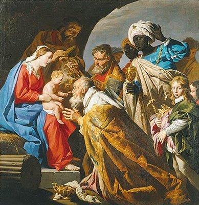 Bibl-Histo-l'adoration des mages peint-par-matthias-stom-vers-1600-1650